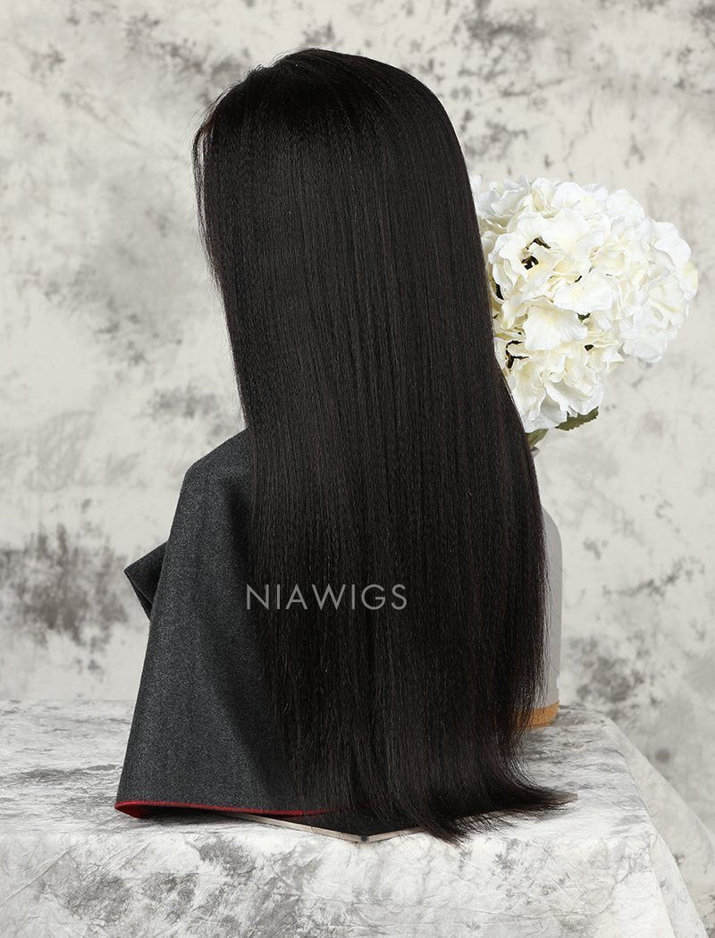 Load image into Gallery viewer, Yaki Straight Stock Wig Natural Color Human Hair Machine Made Wigs