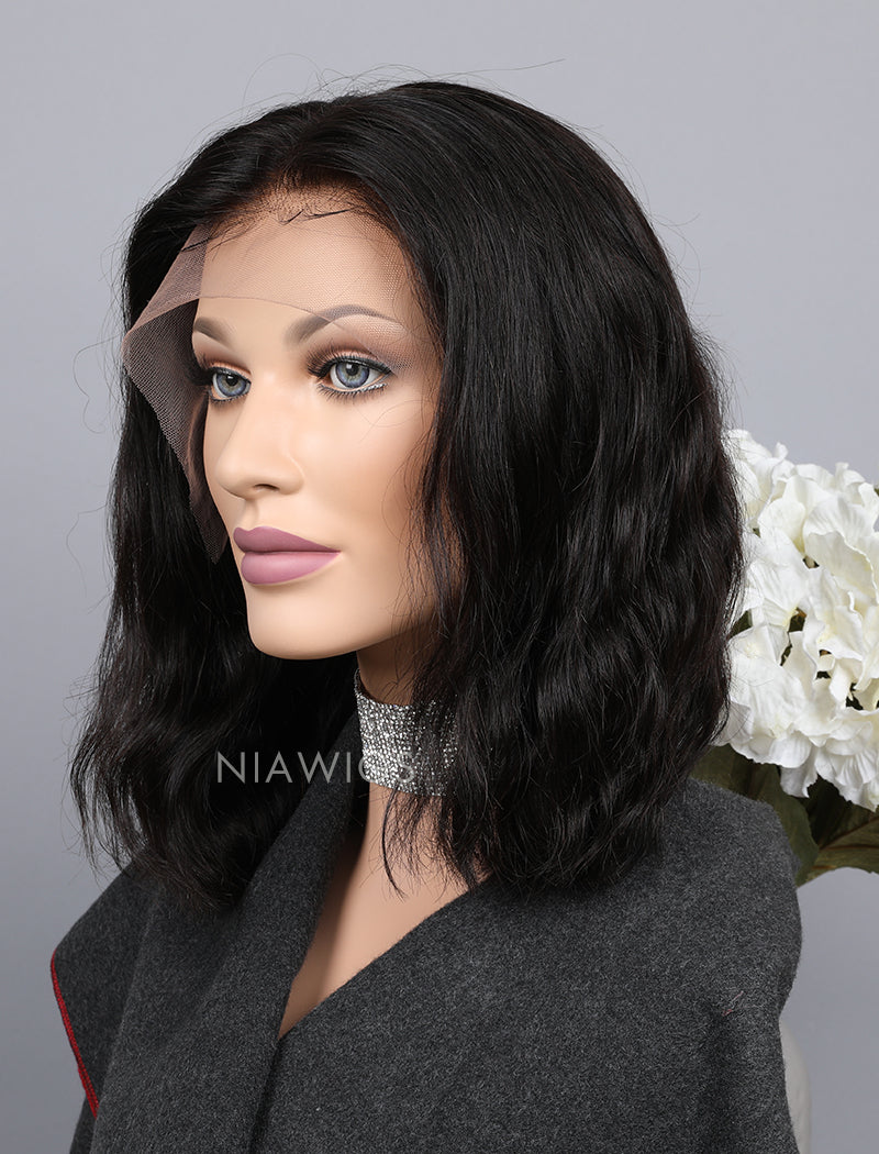 Load image into Gallery viewer, Silk Base Natural Wavy Bob Cut Human Hair Lace Front Wigs