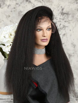 Silk Base Kinky Straight Human Hair Full Stretchable Wigs