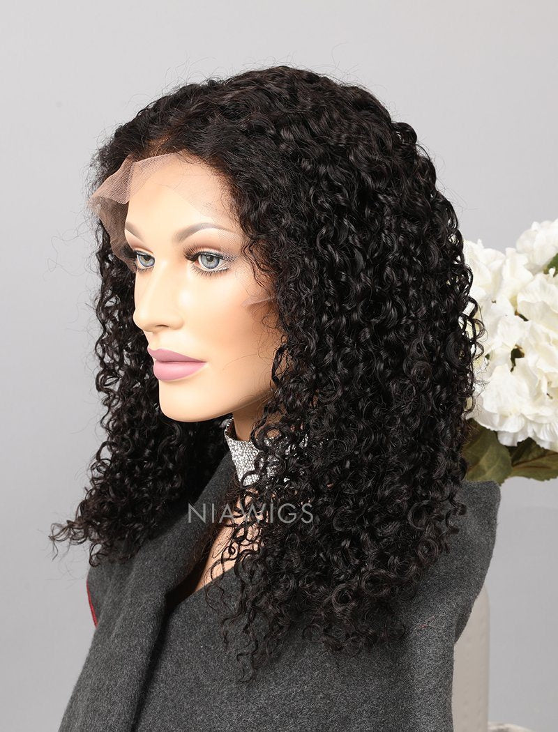 Load image into Gallery viewer, Curly Human Hair Glueless Full Stretchable Wigs With Baby Hair