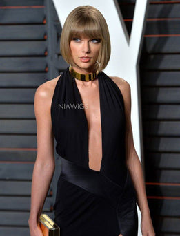 Taylor Swift Celebrity Short Bob Virgin Hair Lace Front Wig With Bangs