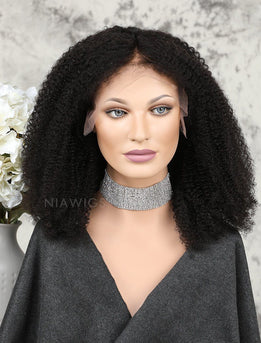 Afro Kinky Curly Human Hair Full Lace Wigs With Middle Parting