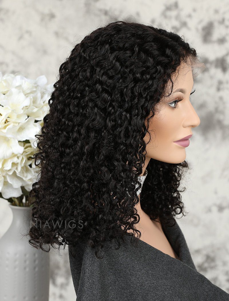 Load image into Gallery viewer, Bob Curly Human Hair Glueless Full Stretchable Wigs Middle Parting