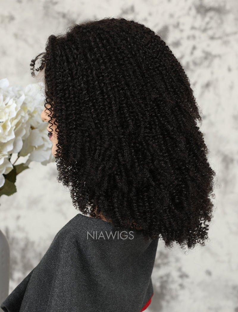 Load image into Gallery viewer, Silk Base Kinky Curly Human Hair Full Stretchable Lace Wigs