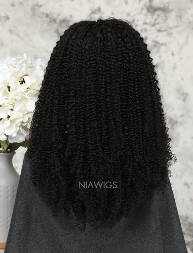 Afro Kinky Curly Stock Wig Natural Color Human Hair Machine Made Wigs
