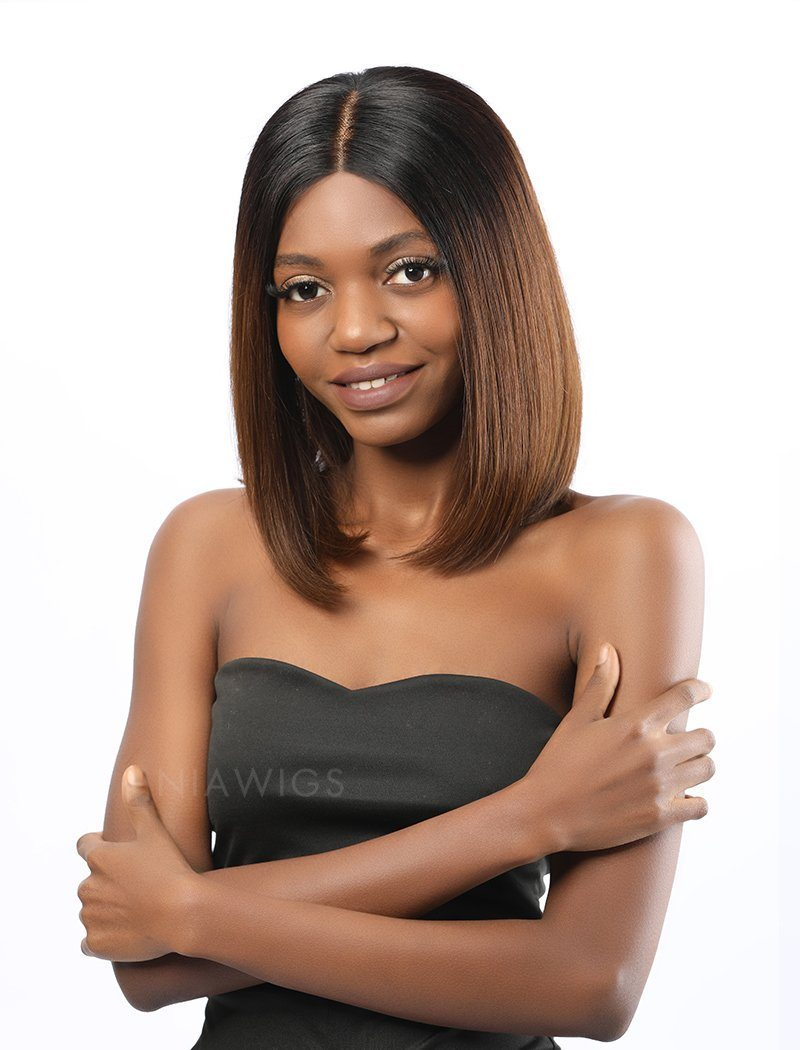 Load image into Gallery viewer, Tina||Remy Hair 12 Inches Lace Front Wig Ombre 1B/4