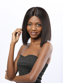 Fiona||Remy Hair 12 Inches Lace Front Wig Yaki Bob