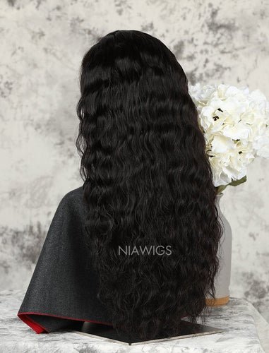Wavy Stock Wig Natural Color Human Hair Machine Made Wigs