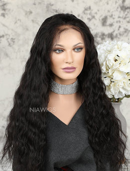Natural Wavy Human Hair Lace Front Wigs With Preplucked Natural Hairline