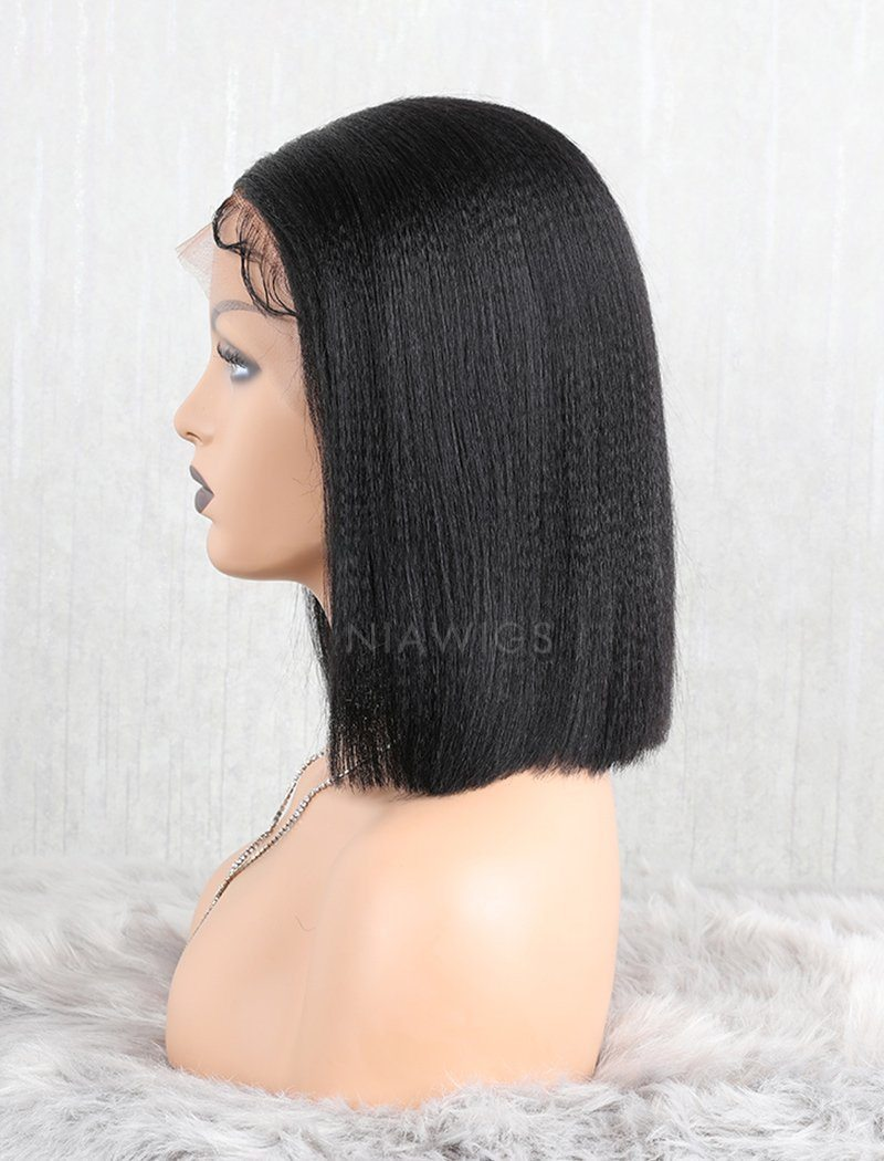 Load image into Gallery viewer, Yaki Straight Bob Human Hair Lace Front Wigs Middle Parting