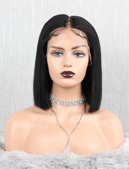 Yaki Straight Bob Human Hair Lace Front Wigs Middle Parting