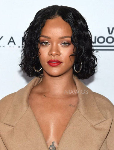 Rihanna Inspired Celebrity Wigs 12 Inches Curly Bob Virgin Hair Lace  Front Instock Wig