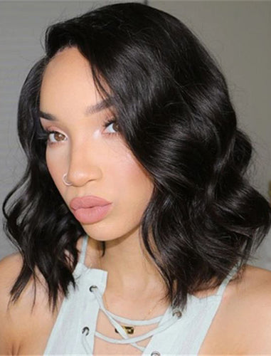 Silk Base Bob Wavy Human Hair Full Stretchable Lace Wigs