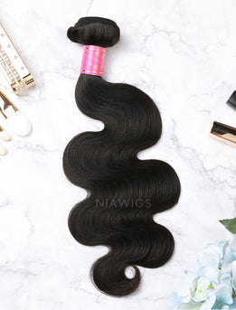 Hair Weft With Lace Closure Natural Color Brazilian Body Wave Human Hair