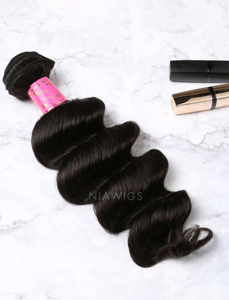 Load image into Gallery viewer, Hair Weft With Lace Closure Natural Color Deep Wave Brazilian Human Hair