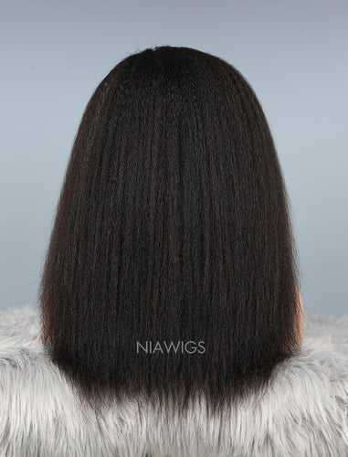 Kinky Straight Stock Wig Natural Color Human Hair Machine Made Wigs