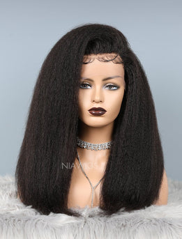 Kinky Straight Full Lace Wig Thicker Human Hair Wigs