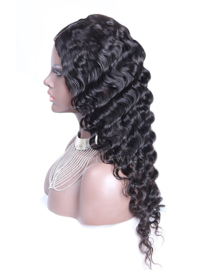 Load image into Gallery viewer, Deep Wave U Part Human Hair Wigs Natural Black