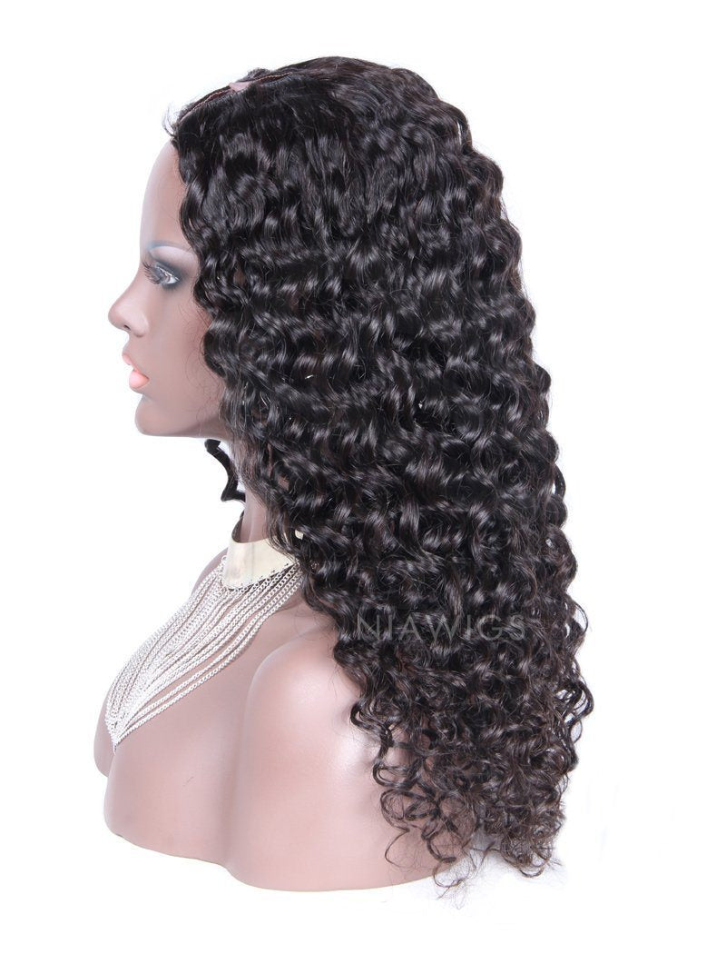 Load image into Gallery viewer, Best Selling Curly U Part Human Hair Wig Natural Black Upart Wigs