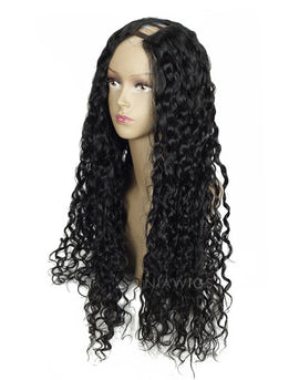 #1 Jet Black U Part Human Hair Wig Curly Upart Wigs