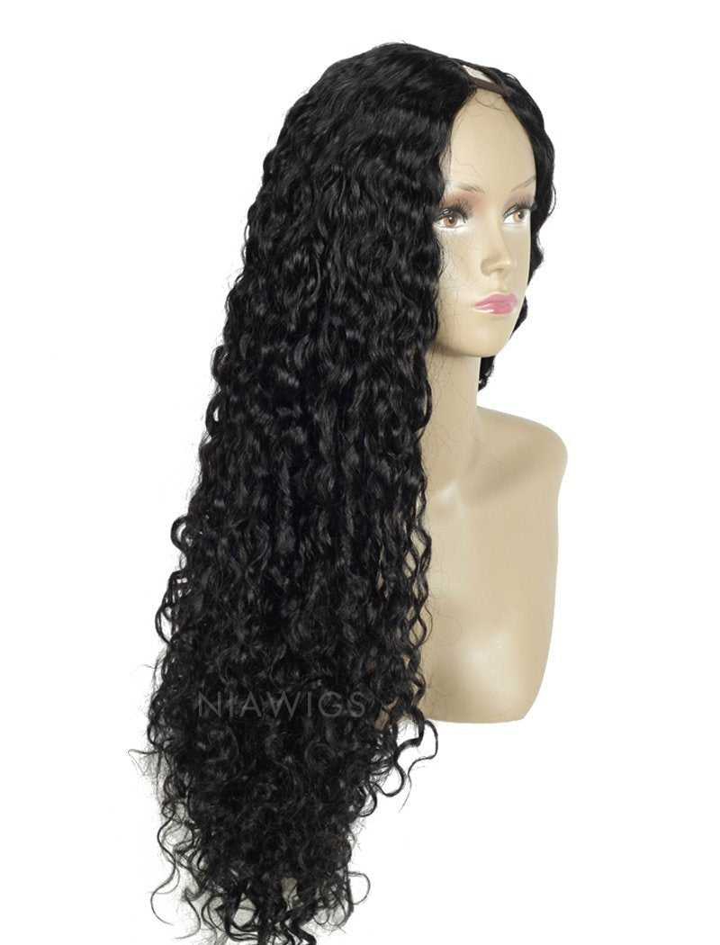 Load image into Gallery viewer, #1 Jet Black U Part Human Hair Wig Curly Upart Wigs