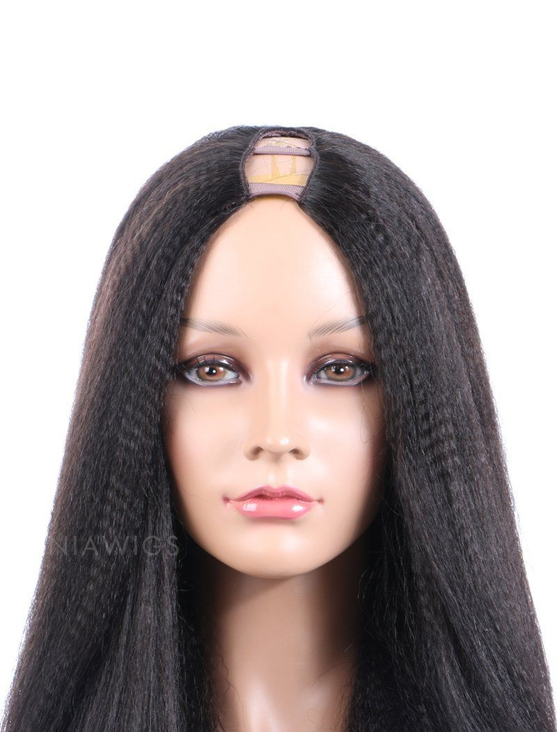 Load image into Gallery viewer, Yaki Straight U Part Human Hair Wigs With Natural Color
