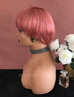 Adah||Remy Hair 8 Inches Lace Front Wig Pink