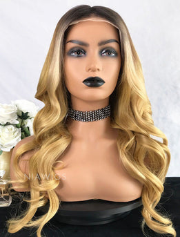 Brenda||Virgin Hair 22 Inches Glueless Full Lace Wig Balayage