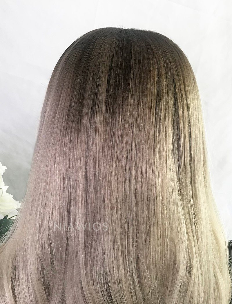 Load image into Gallery viewer, Yvette||Virgin Hair Full Lace Wig 22 Inches Brown Roots & Silvery  Grey
