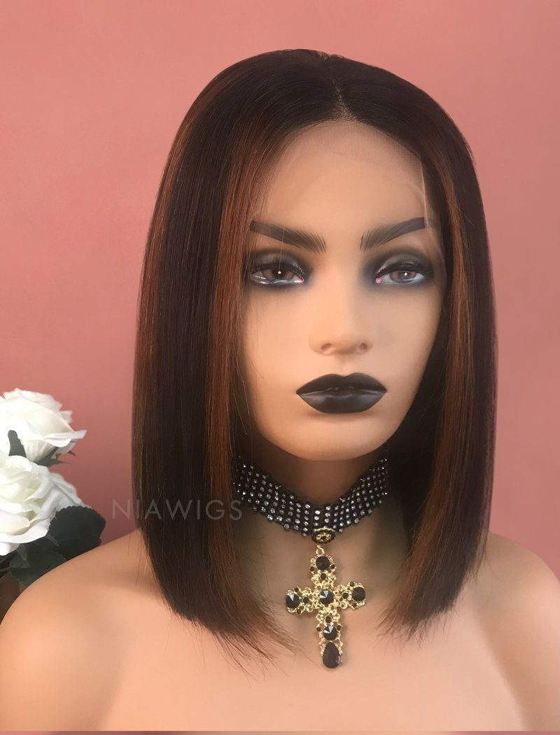 Load image into Gallery viewer, Anele||Virgin Hair 12 Inches Lace Front Wig #1B Black Shade Base Mixed  Color #30