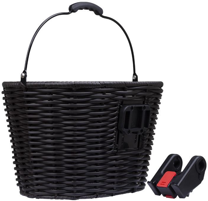 M-Part Stockbridge woven plastic basket with handle and QR plate