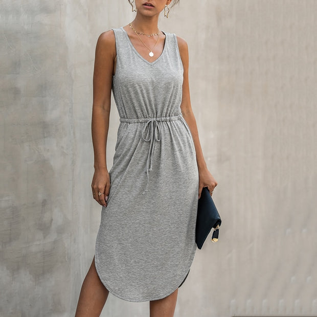 Sleeveless Dress with V-neck Sleeveless - NSQUARE