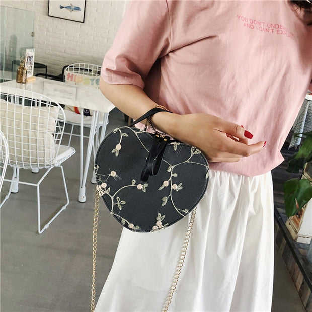 Heart Shape Crossbody Bag with Chain - NSQUARE