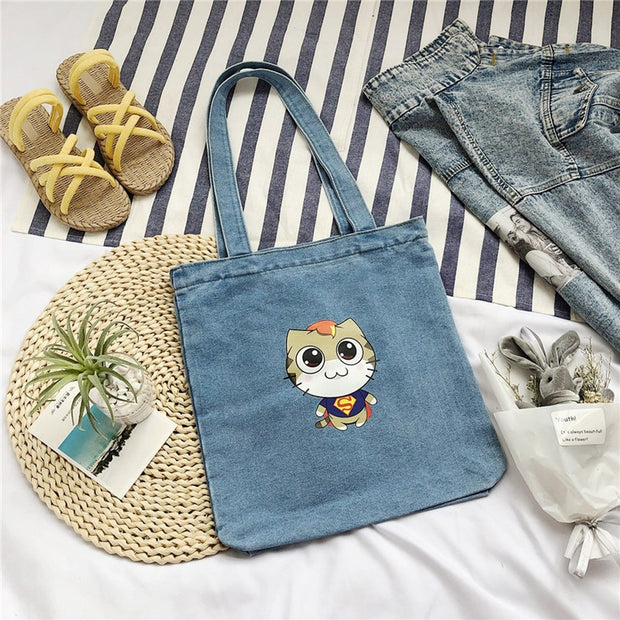 Super Cat Denim Tote Bag - NSQUARE