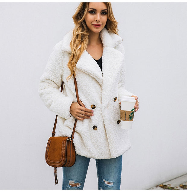 Thick Warm Jacket Coat with Big Buttons - NSQUARE