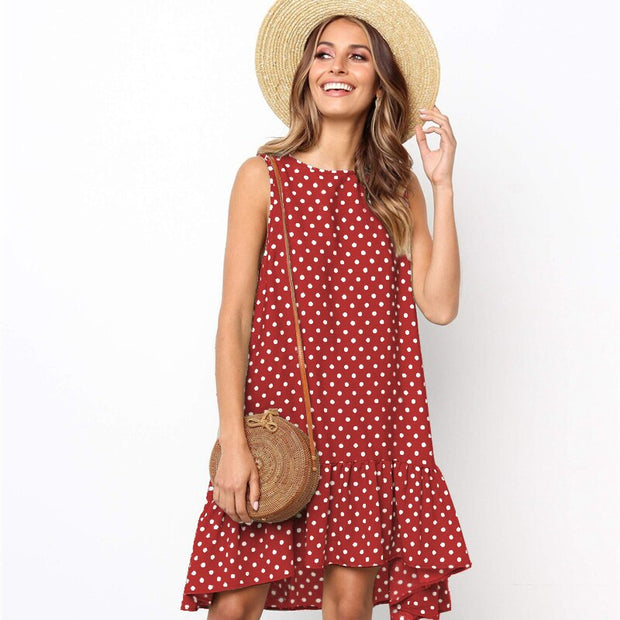 Polka Dot Chiffon Sleeveless Dress - NSQUARE