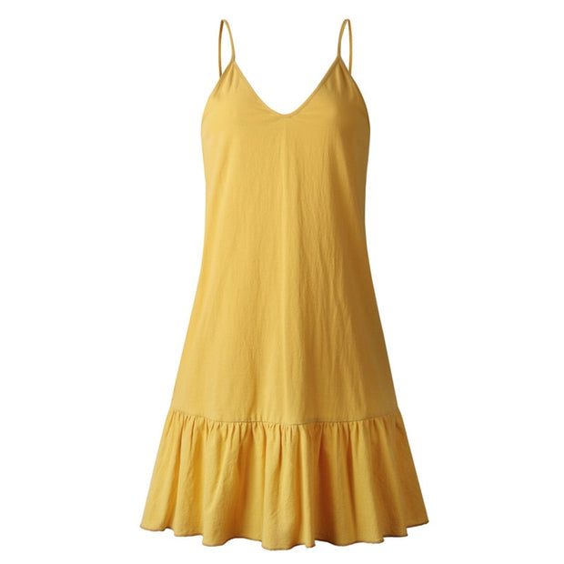 Cotton Halter V-neck Ruffled Spaghetti Dress - NSQUARE