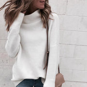 White Knitted Pullover with Turtle Neck - NSQUARE