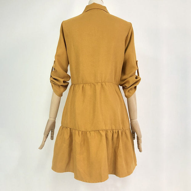 Long Sleeve Shirt Dress - NSQUARE