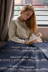 Drum Rudiment Fleece Blanket - Blue