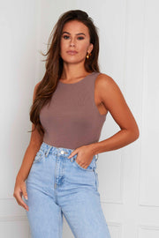 Joelle Sleeveless Knit Bodysuit - Mocha
