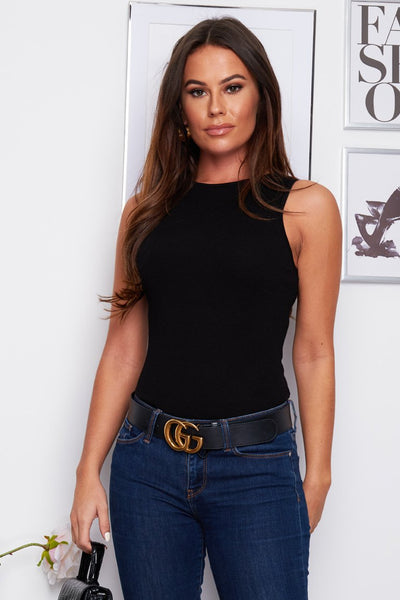 Joelle Sleeveless Knit Bodysuit - Black
