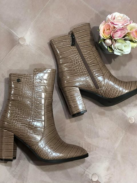 Nude Croc Ankle Boots