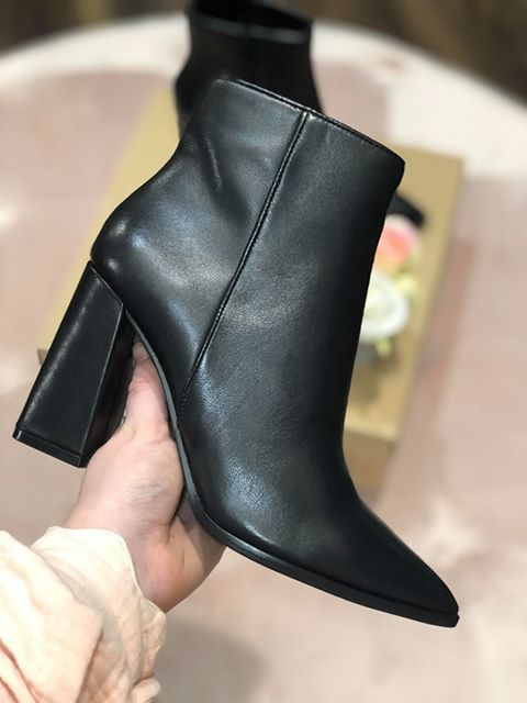 Rayni Heeled Ankle Boots - Black Leather