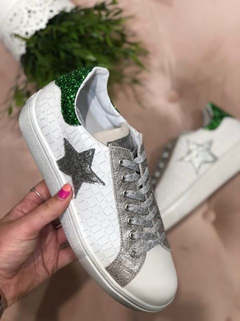 White Trainer with Green sequin detailing