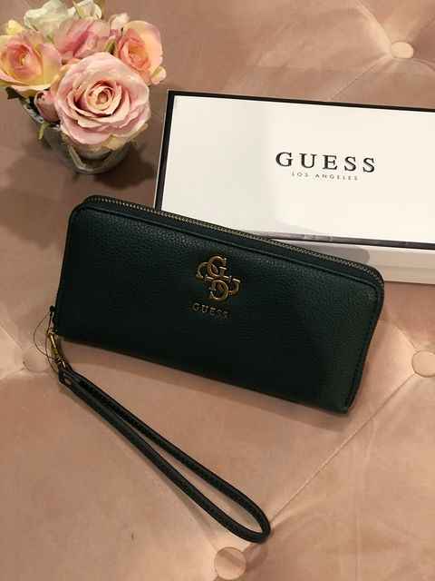 Guess Digital Large Zip Around Purse - Forest Green