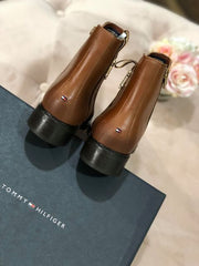 Tommy Hilfiger Interlock Leather Flat Boots - Cognac