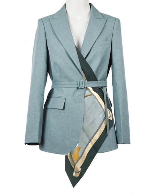 Belted Blazer With Scarf Detail