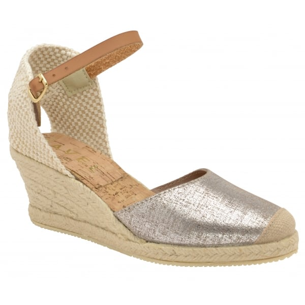 Ravel Etna Metallic Espadrille Wedges - Silver Leather