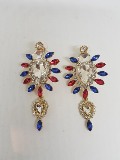 Pink And Navy Gem Earrings - LTE77X